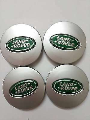 Set Of 4 Land Rover Alloy Wheel Centre Hub Caps Green/Gold 63Mm Brand New