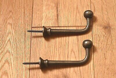 A Pair Of Beautiful Antique Style Ball Ended Screw-In Hooks Cast Iron Coathook