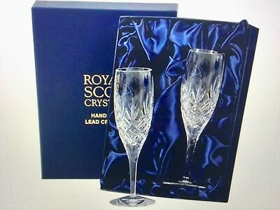 Royal Scot Crystal Kintyre 2 Crystal Tall Flute Champagne Glasss In Box New