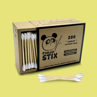 Bamboo Cotton Buds | Plastic Free | 100% Natural & Eco Friendly | by Panda STIX