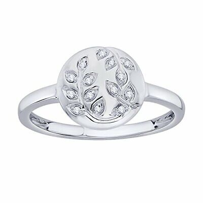 857ddd27563 IGI CERTIFIED DIAMOND Accent Vine Leaf Engraved Circle Disc Ring in 10K Gold