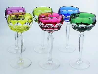 Antique 6 Chalice Glasses Crystal Colour Ribs Plates Val st Lambert Signed