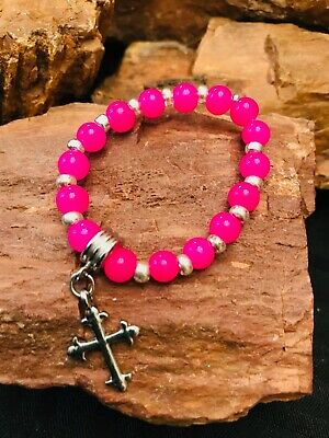 Childs Pink Acrylic Stretch Bracelet with Cross Charm