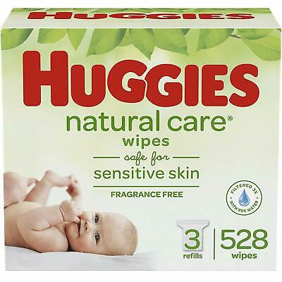 HUGGIES Natural Care Unscented Baby Wipes Sensitive 3 Refill Packs (528 Total Wi