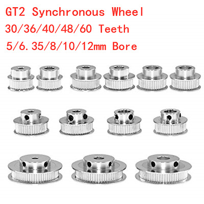 GT2 Synchronous Wheel 30-60 Teeth 5-12mm Bore Timing Pulley 6-10mm Width Belt