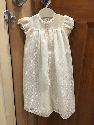 Vintage Mothercare Lace Baby Christening Gown Robe Newborn/ 3 Months