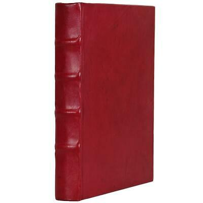 """Old Red Leather Bound Book Journal Notebook Hardcover Diary Ruled Lined 7"""" X 9"""""""