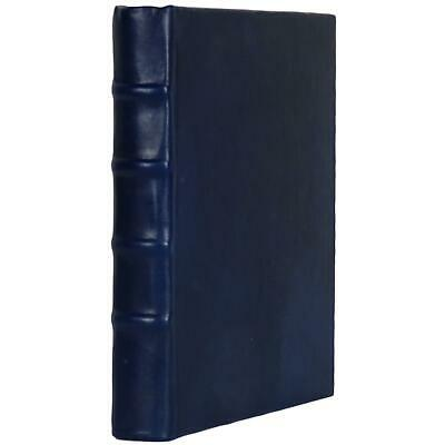 """Old Blue Leather Bound Book Journal Notebook Hardcover Diary Ruled Lined 7"""" X 9"""""""