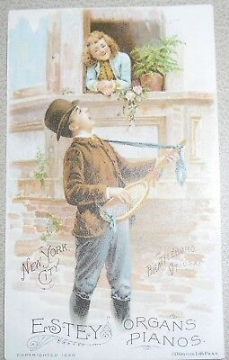 Victoria Trade Card Estey Organs Pianos Using a Tennis Racket as Guitar