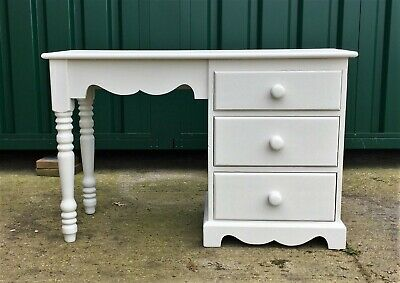 Pretty 3 drawer pine dressing table hand painted in very pale grey