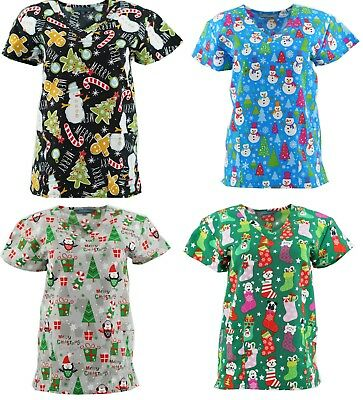 Christmas Scrub Tops Size XS-4XL New Nursing Medical Scrub tops Holiday Prints