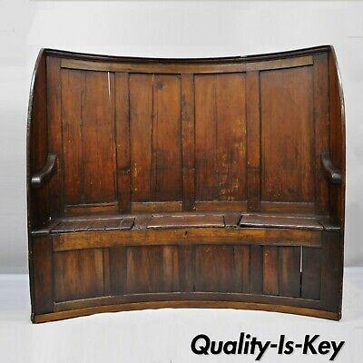 18th Century Antique High Back Curved English Pine Pub Settle Hall Storage Bench
