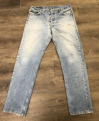 Vintage Levis 501 Jeans Made In USA Denim 90's Size 34x31 Distressed Button Fly
