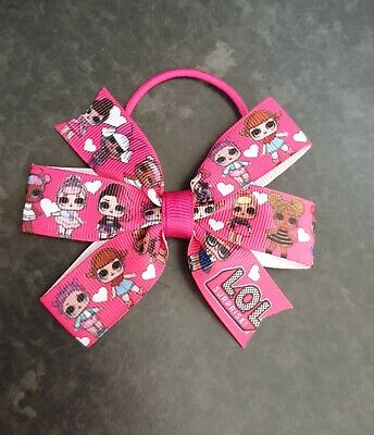 Handmade Girls LOL DOLLS Character Ribbon Hair Bow Clip .Size approx 10 cm wide