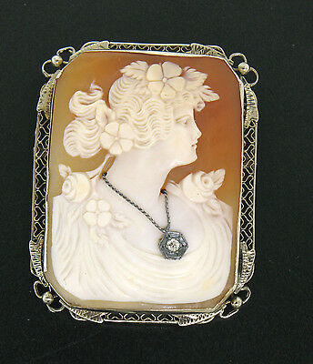 Vintage 14k or Blanc Portrait Sculpté Coque Cameo Diamant Filigrane Bordure