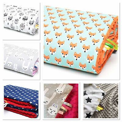 Baby BLANKET PRAM BUGGY /PLAYMAT /REVERSIBLE- FILLED -100x75cm LUXURY FEEL