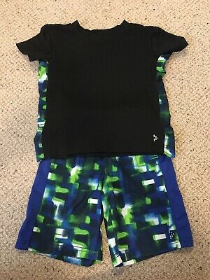 Gymboree Boy XS Extra Small 3-4 Outfit Blue Black Summer GUC
