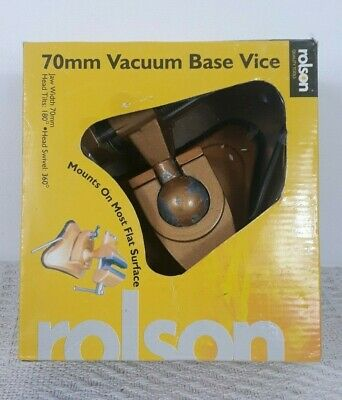 Table Bench Top Vacuum Suction Base Vice Clamp Swivel Head & 70mm Rubber Jaw