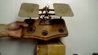 Antique London Postal Brass Scale W/5 Weights T.j. Smith & Sons & Co.