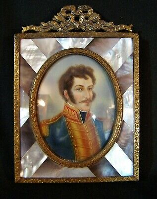 RARE Antique French Miniature Portrait Painting Mother of Pearl Frame RAYMOND