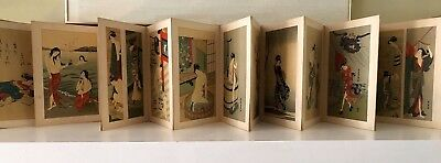 29 Japanese Geisha Prints, Antique Accordion Type Album With Silk Cover