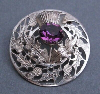 Vintage Amethyst Sterling Silver WB WARD BROTHERS Filigree Thistle Brooch
