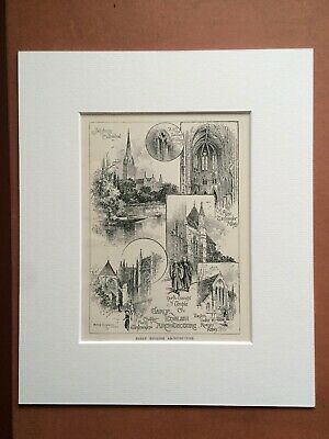 1900 Early English Architecture Original Antique Matted Print Vintage Cathedral