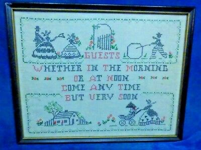 Vintage Artist 1920s Charming Needlework Sewing Guests Motto Framed  Art AB5