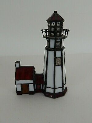 Leaded Stained Glass Lighthouse 8""