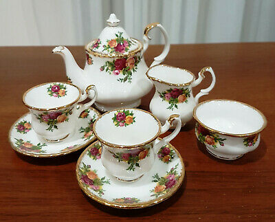Vintage Royal Albert Old Country Roses Miniature Tea Set – 8 Pieces and Made in