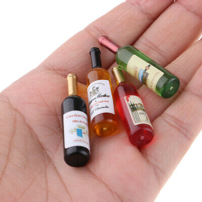 Dollhouse Miniature Wine Bottles Champagne Bottles with Glasses 1/12 Scale