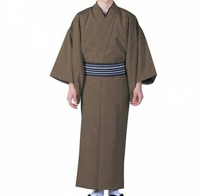 Japanese Traditional Mens Unlined Summer Kimono Pongee Fabric MAR Japan Tracking
