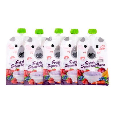 8pcs Reusable Resealable Squeeze Food Pouches Storages Bags DIY Baby Food 200ML