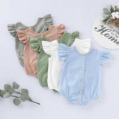 Summer Newborn Infant Baby Girls Boys Linen Romper Outfits Jumpsuit Bodysuit AU
