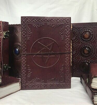 Hand Made Leather Bound Book/Journal Recycled Paper Pentagram 18 x 13 cm