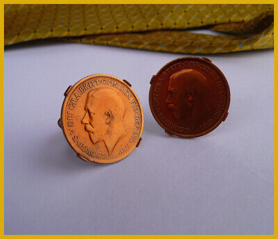George V Sovereign Half Penny Cufflink Coins