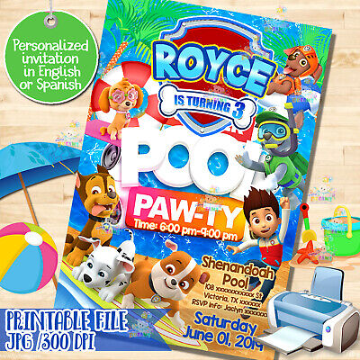 picture about Paw Patrol Printable Birthday known as PRINTABLE PAW PATROL invitation, Paw-ty, Pool occasion, Birthday Invitation! Digita