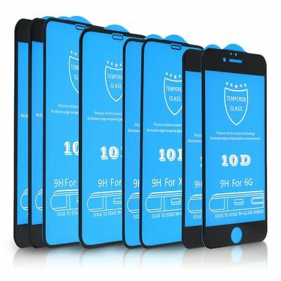 For iPhone XS XR X 8 7 10D Full Cover Curved Tempered Glass Screen Protector 9H