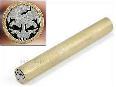 Skull Shaped Knife Handle Mosaic Brooch 45mm x 6mm Rivet Brass Steel Tube Pin