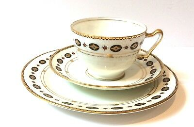 Tea cup Trio Paragon Star White Art Deco vintage English China Afternoon tea