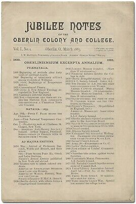 Jubilee Notes of the Oberlin Colony and College Vol I No 1 / 1883