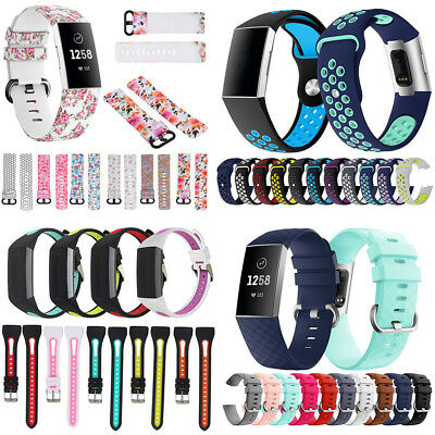 For Fitbit Charge 3 Silicone Watch Band Bracelet Flower Replacement Wrist Strap