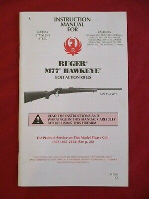 Original Firearms owner's manual Ruger M77 Hawkeye bolt action centre fire rifle