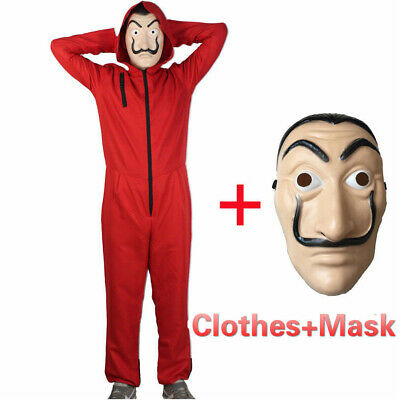 Salvador Dali La Casa De Papel Money Heist Red Jumpsuit + Mask Costume Cosplay