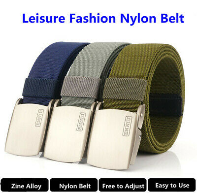 "47"" ENNIU Men Thick Nylon Belt Leisure Tactical Task Belt Zine Alloy Buckle Belt"