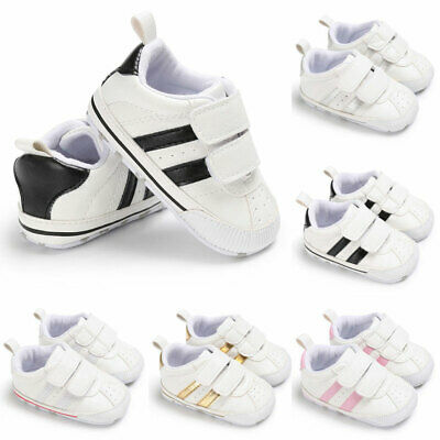 AU Toddler Baby Boys Girls Kids Winter Soft Sole White Pram Shoes Trainers 0-18M