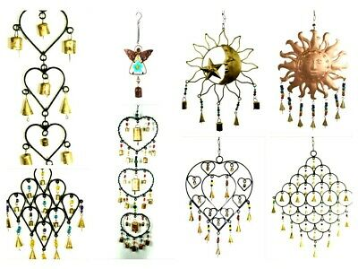 Hanging Garden Mobile Chime Iron Bells and Beads Hearts Angel Sun Moon & Stars