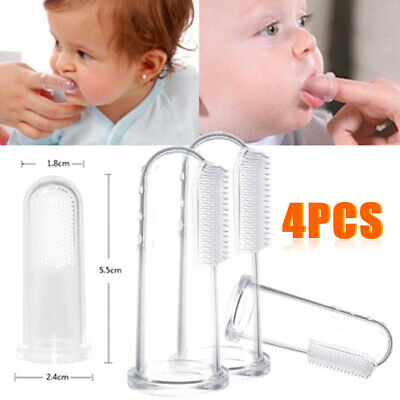 Kid Baby Soft Silicone Finger Toothbrush Teether Gum Massage Brush Clean Teeth