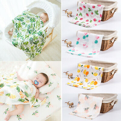 AU Newborn Baby Muslin Swaddle Blanket Infant Bath Towel Sleeping Wrap Blanket