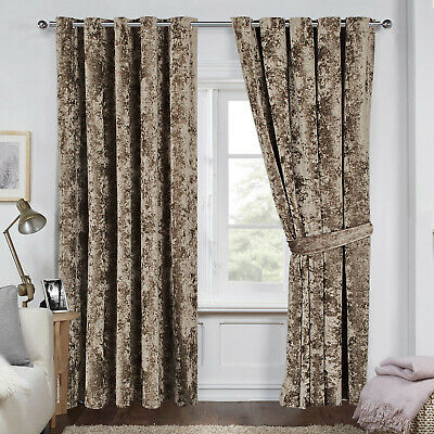 Luxury Crushed Velvet Lined Pair Curtains Eyelet RingTop Ready Made Home Bedroom